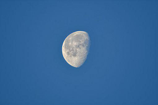 Moon, Crater, Sky, View, Night, Evening, Landscape