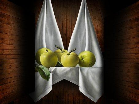 Apples, Fruit, Fabric, Still Life, Green Apples, Food