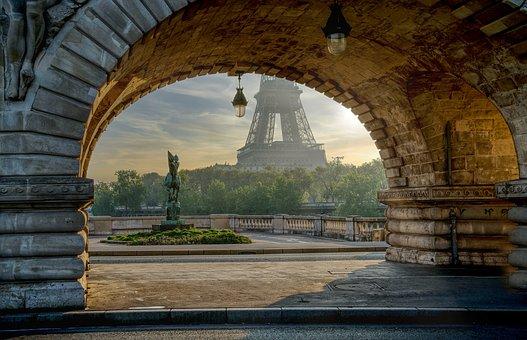 Arch, Alley, Street, Road, Eiffel Tower, Viaduct, Paris