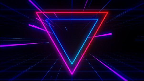Neon, Light, Geometric, Triangle, Futuristic, Glow