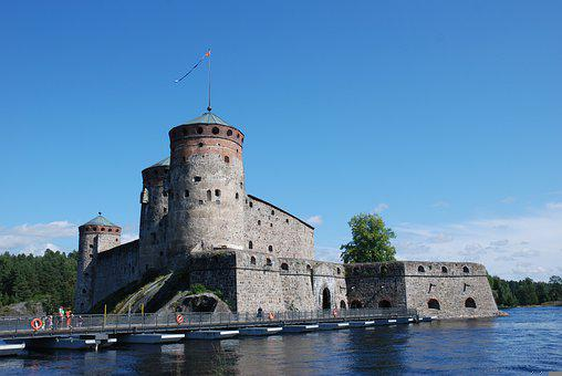 Castle, Fortress, Building, Lake, Bridge, Architecture