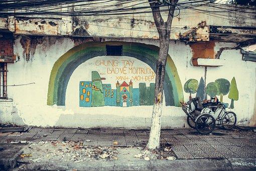 Man, Bike, Wall, Graffiti, Street, Road, Pavement