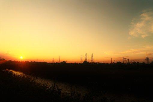 Pylons, Electricity, Sunset, Silhouette, Sun, Sunlight
