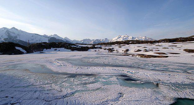 Lake, Frozen, Ice, Melting, Snow, Mountains, Nature