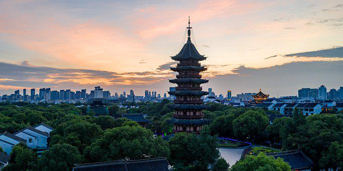 Suzhou, Pagoda, City, Sunset, Temple, Building