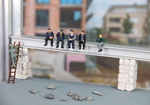 Construction, Workers, Miniature Figures, Rest, Break