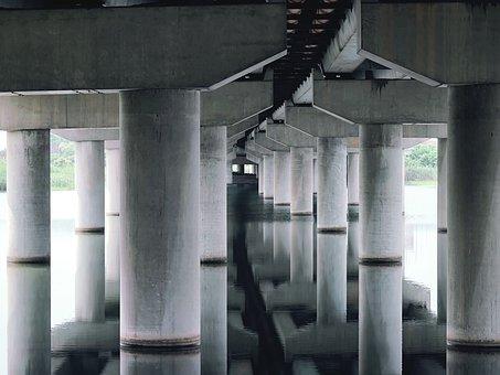 Bridge, Bridge Columns, River, Pillars, Reflection