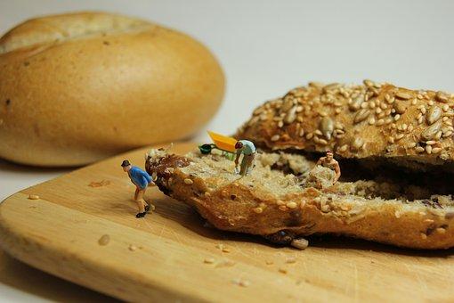 Roll, Bun, Bread, Baked Goods, Miniature Figures, Bake