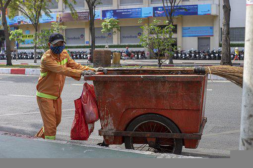 Garbageman, Cart, Street, Urban, City, Worker, Trashman