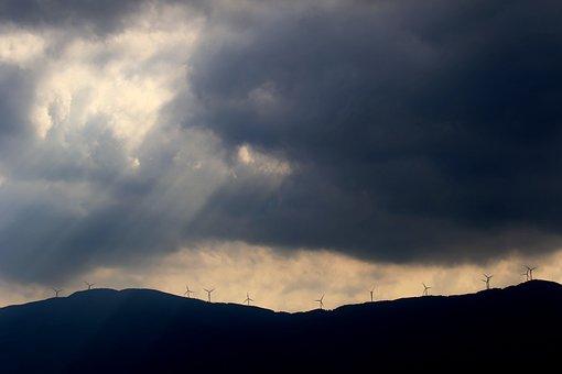 Windmills, Mountain, Clouds, Sunbeam, Sunlight