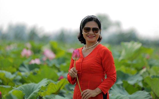 Woman, Lotus, Dress, Flower, Lotus Garden, Lotus Leaves