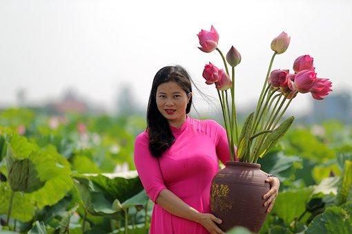 Woman, Lotuses, Dress, Jar, Flowers, Lotus Garden