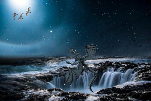 Dragon, Composing, Falls, Night, Waterfall, Star