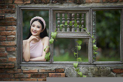 Woman, Model, Fashion, Pose, Posing, Window, Leaves