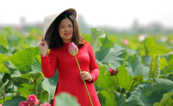 Woman, Lotuses, Dress, Hat, Flowers, Lotus Garden