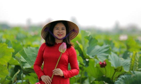 Woman, Lotus, Dress, Hat, Flower, Lotus Garden