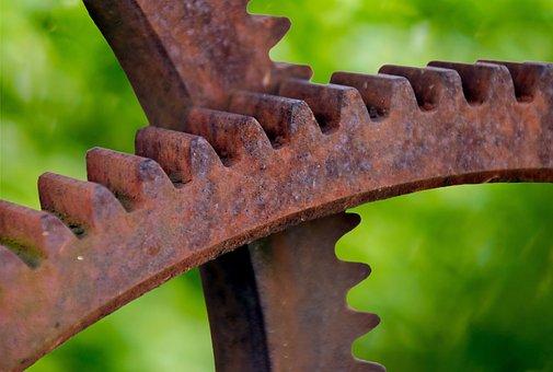 Gears, Metal, Rust, Mechanical, Industrial, Machine