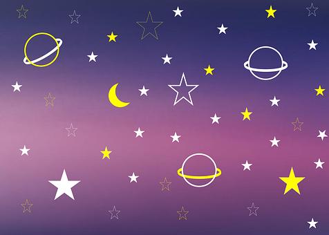 Star, Planet, Space, Background, Purple, Sky, Night Sky