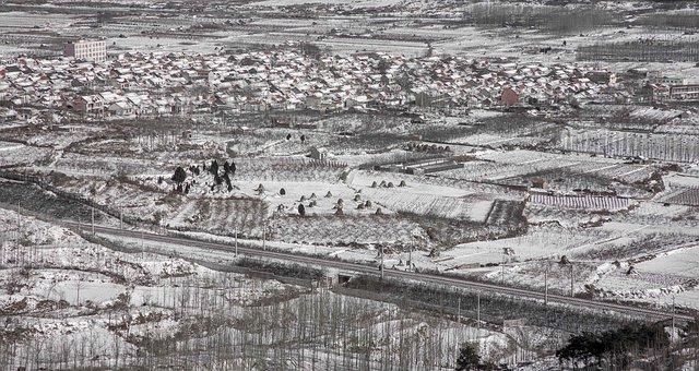 Yinan, Town, Snow, Panorama, Winter, Snowy, Fields