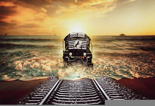 Train, Railroad, Locomotive, Beach, Surreal, Fantasy