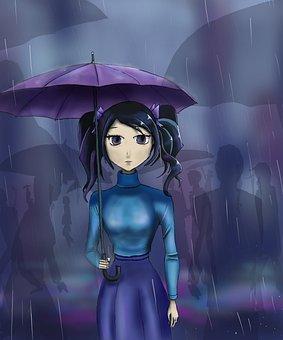 Girl, Rain, Umbrella, Street, City, Evening, Dark