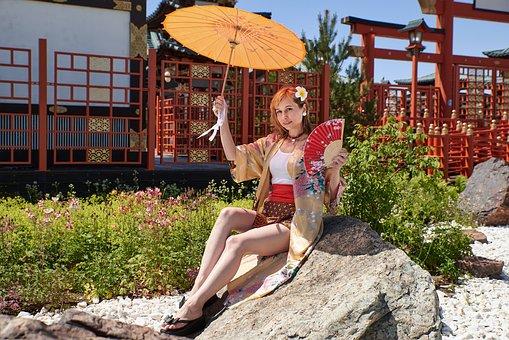 Woman, Umbrella, Fan, Kimono, Geisha, Japanese Garden