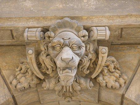 Lion Head, Keystone, Archway, Castle