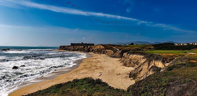 Half Moon Bay, California, Sea, Ocean, Beach, Seashore