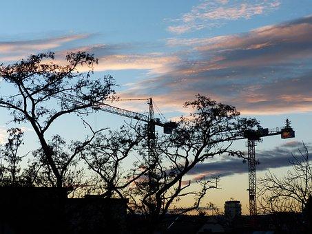 Crane, Site, Build, Construction Work, Christmas, Boom