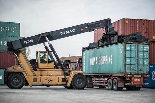 Construction Site, Crane, Pier, Container, China
