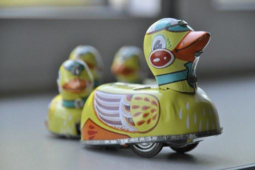 Toys, Duck, Colorful, Yellow, Pattern, Metal, Sheet
