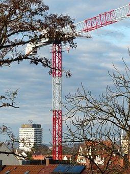 Crane, Site, Build, Red, White, Boom, Crane Boom