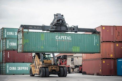 Construction Site, Crane, Pier, Container