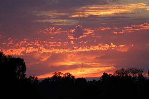 Sunset, Sky, Fire, Cloudscape, Evening, Clouds