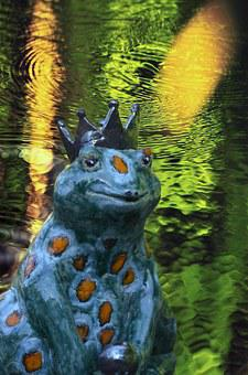 Frog Prince, Fig, Fairy Tales, Crown, Pond, Frog, Deco
