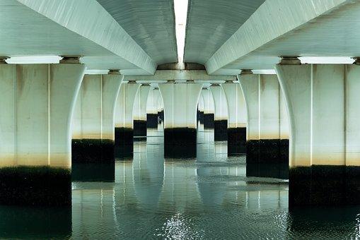 Perspective, Bridge, Building, Water, Girder