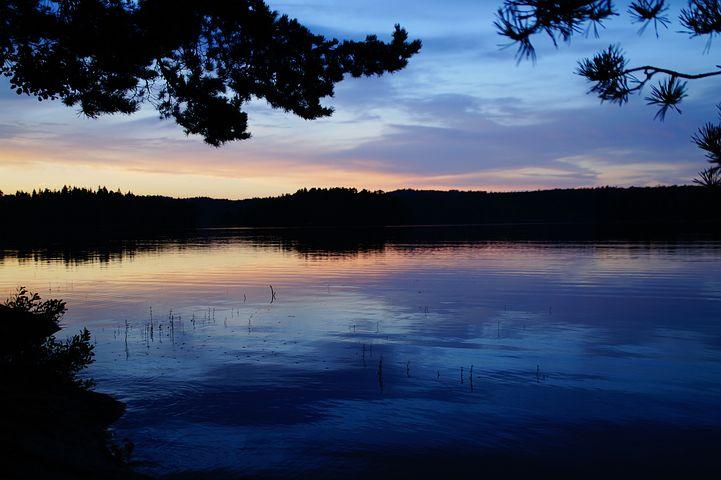 Sunset, Sweden, Lake, Abendstimmung, Evening Sky