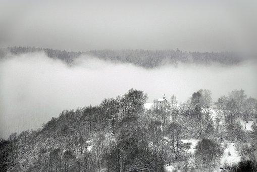 Mountain, Chapel, Mist, Snow, Winter, Vosges, Landscape
