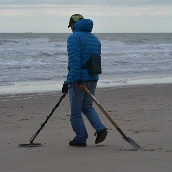 Metal Detector, Fortune-hunter, Man, People, Sea, Beach