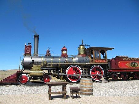 Train Tracks, Telephone Pole, Train, Railroad