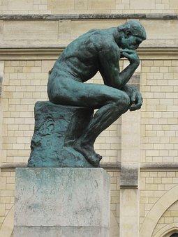 The Thinker, Bronze, Sculpture, Rodin, Nude, Male