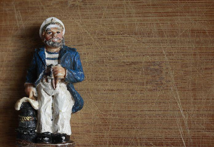 Sailor, Doll, Toy, Figure, White, Miniature, Fisherman