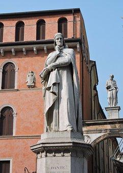 Statue, Dante, Poet, Verona, Monument, Building