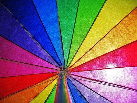 Parasol, Rainbow Colors, Colorful, Sunny, Sun