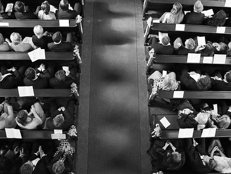 Wedding, Black And White, Top, Church, From Above