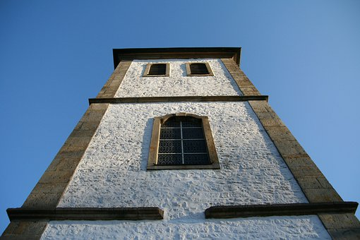 Steeple, White, View From The Bottom, Architecture