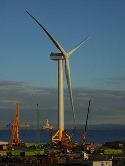Wind Turbine, Offshore, Industrial, Yard, Industry