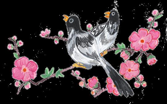 Birds, Cherry Blossoms, Spring, Lark, Blackbird