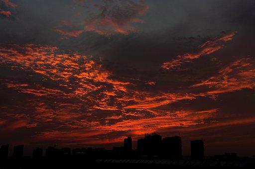 Sunset, Clouds, Skyline, Silhouette, City, Skyscrapers