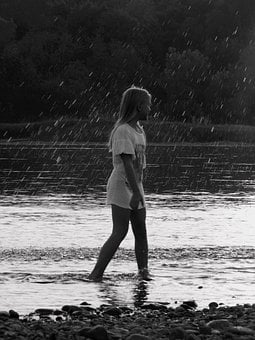 River, Girl, Rain, Kid, Child, Happy, Rainy, Raining